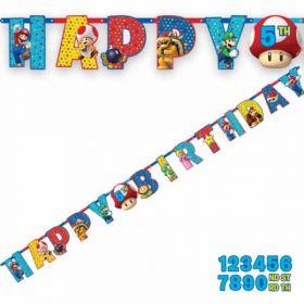 Super Mario Happy Birthday Jumbo Letter Banner