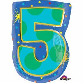 Confetti Dots Number 5 Junior Shape Foil Balloon