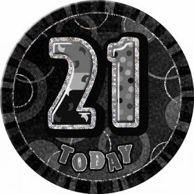 21st Black Glitz Birthday Badge, 6""