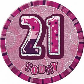 21st Pink Glitz Birthday Badge, 6""