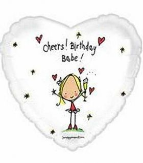 Juicy Lucy Cheers Birthday Babe Foil Balloon