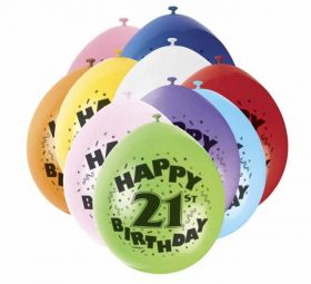 21st Happy Birthday Latex Balloons 10pk