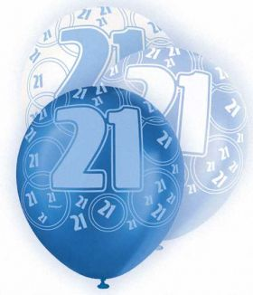 Blue Glitz 21 All Over Print Party Balloons 6pk