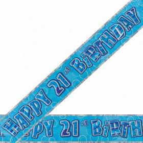 Blue Glitz 21 Prismatic 12ft Party Banner