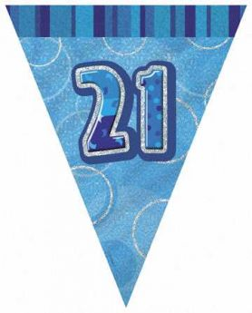 Blue Glitz 21 Party Flag Banner 9ft