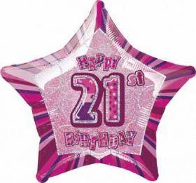 Pink Glitz Star 21 Foil Party Balloon