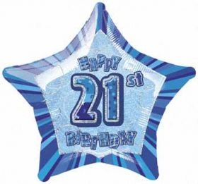 Blue Glitz Star 21 Foil Party Balloon