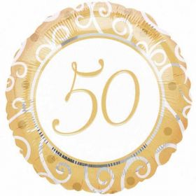 Gold 50th Anniversary Foil Balloon