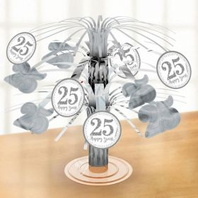 Sparkling Silver Anniversary Foil Centrepiece