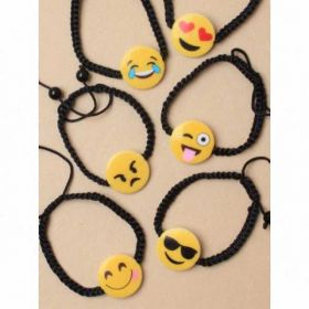 Black corded bracelet with Emoji motif