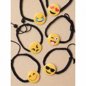 Black corded bracelet with Emoji motif