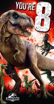Jurassic World Age 8 Birthday Card