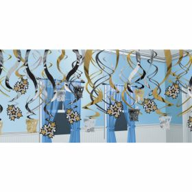 Happy New Year Black, Silver & Gold Hanging Swirls Decorations