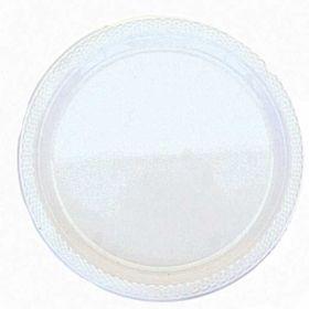 "Frosty White Plastic Plates, 7"" pk20"