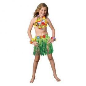 Child Hawaiian Luau Skirt Kit, Hula Skirt, Hibiscus Bra, 2 Wrist Bands