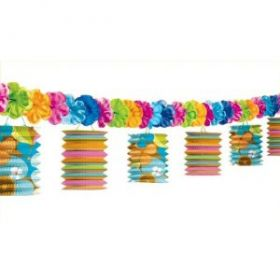 Lantern Garland Party Decoration with Flowers 3.65 metres long