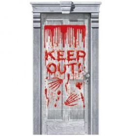 "Halloween Dripping Blood ""Keep Out"" Door Gore Decoration"