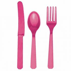 Bright Pink Re-usable Plastic Cutlery, Assorted 24 pack