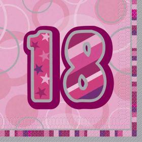 Pink Glitz Age 18 Napkins pk16