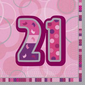Pink Glitz Age 21 Napkins pk16