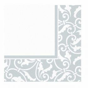 Silver Ornamental Scroll Luncheon Napkins pk16