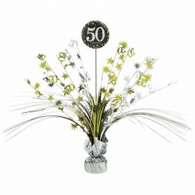 Gold & Silver Sparkling Celebration 50th Centrepiece Sprays 33cm