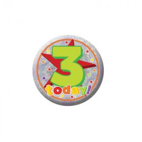 Happy 3rd Birthday Holographic Badge
