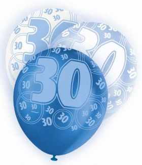 Blue Glitz 30 All Over Print Party Balloons 6pk