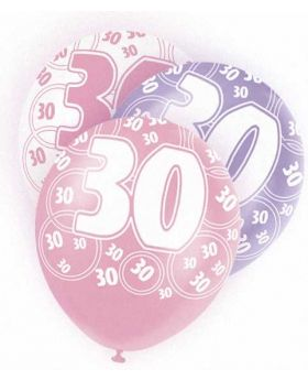 Pink Glitz 30 All Over Print Party Balloons 6pk