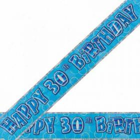 Blue Glitz 30 Prismatic 12ft Party Banner
