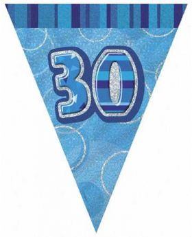 Blue Glitz 30 Party Flag Banner 9ft