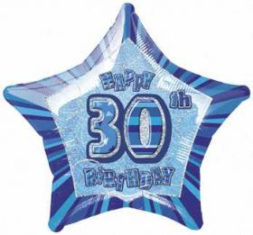 Blue Glitz Star 30 Foil Party Balloon