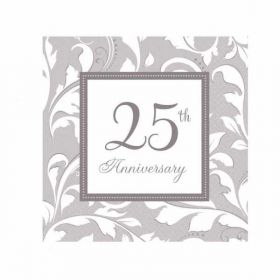Silver Luncheon Napkin 25th Anniversary