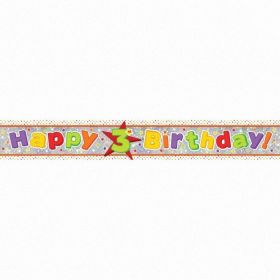 Happy 3rd Birthday Holographic Foil Banner 2.7m