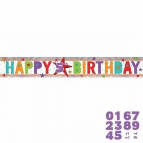 Happy Birthday Add an Age Holographic Foil Banner