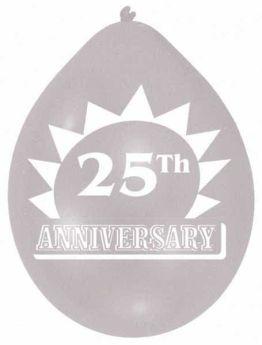 25th Anniversary Silver Balloons pk10