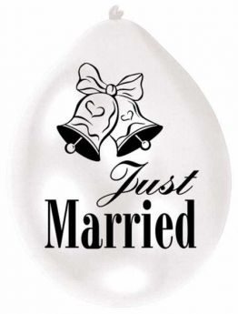 Just Married Pearl White Balloons pk10