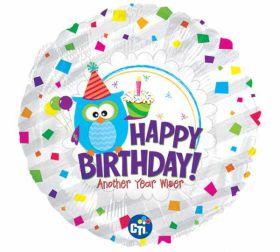 Happy Birthday Wise Owl Foil Balloon