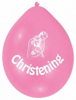 Christening Pink Latex Balloons pk10