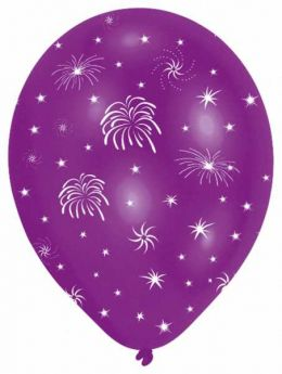 Fireworks Latex Balloons pk6, Assorted colours