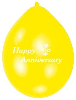 Happy Anniversary Latex Balloons pk10