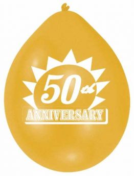 "Golden 50th Anniversary Latex Balloons pk10, 9"""