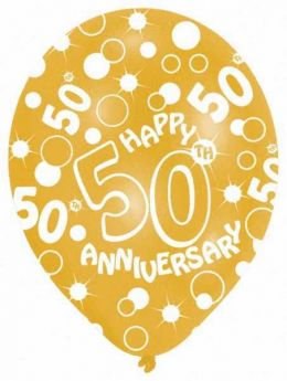 """All Round Printed 50th Gold Anniversary Latex Balloons pk6, 11"""""""