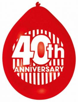 Ruby Anniversary Balloons pk10