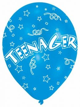All Round Printed Teenager Latex Balloons pk6