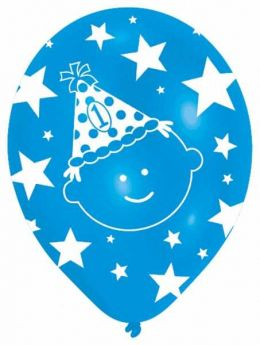 All Round Printed First Birthday Boy Latex Balloons pk6
