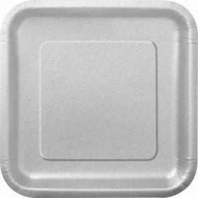 """Silver 7"""" Square Plates pk16"""