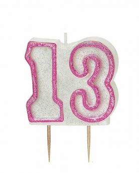 Pink Glitz 13 Party Candle