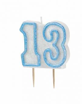 Blue Glitz 13 Party Candle