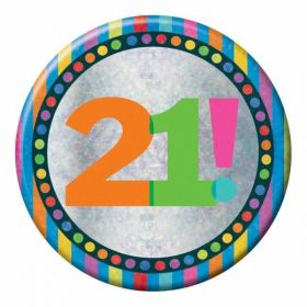 Large Holographic 21st Birthday Badge